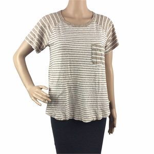 Standard James Perse T-Short Size S (1) Brown White Stripe Short Sleeve